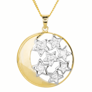 Ladies Shipton and Co 9ct Yellow Gold and Cubic Zirconia Moon and Stars Pendant including a 16 9ct Chain TAR613CZ