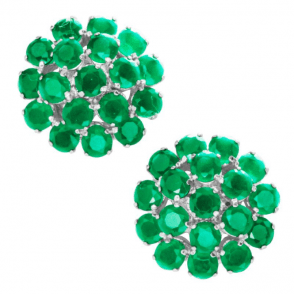 Ladies Shipton and Co Silver and 6ct Emerald Stud Earrings TFE143EM