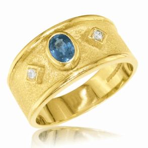 Ladies Shipton and Co Exclusive 9ct Yellow Gold Diamond and Ceylon Sapphire Ring RYX116CS