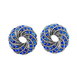 Swirl Earrings Contrast Repoussé Clip  Silver & Lapis